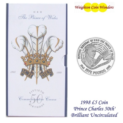 1998 BU £5 Crown Pack – Prince Charles 50th Birthday
